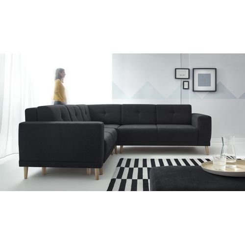 bobochic canap d 39 angle panoramique convertible avec pouf luna noir 260cm x 82cm x 260cm. Black Bedroom Furniture Sets. Home Design Ideas