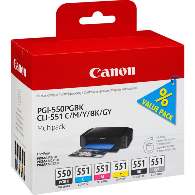 CANON PGI-550 CLI 551 - Multipack Cartouche d'encre 5 couleurs