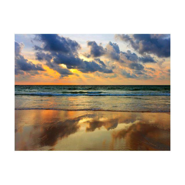 Bimago Papier Peint Coucher De Soleil Colore Sur La Mer