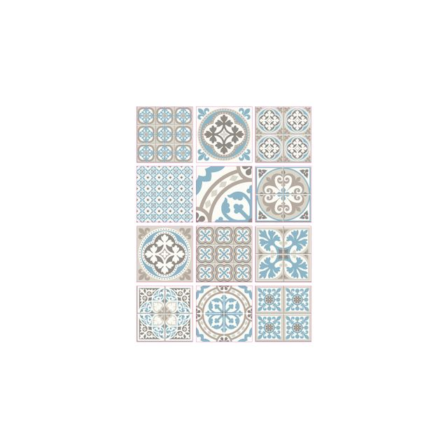 Adhesif Carrelage Sticker Carreaux De Ciment Moziblue 12 Pieces 20 X 20 Cm
