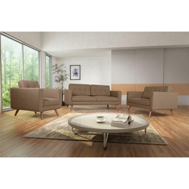 Rocambolesk Canapé Hedvig 3+2+1 savana 25 brun pieds naturels sofa divan