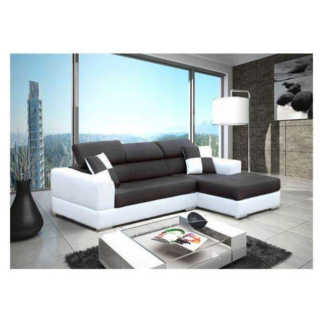 Meublesline canap d 39 angle 4 places neto moderne noir et Canape cuir noir et blanc