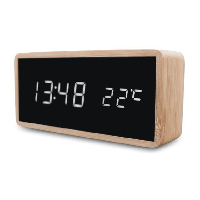 GÉNÉRIQUE Réveil Led en Bois Multifonction Miroir Horloge