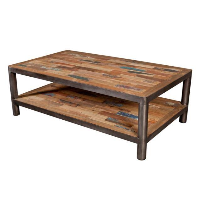 Tousmesmeubles Table basse 2 plateaux - Modernity