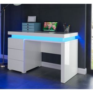 aucune flash bureau 120 cm avec led multicolore blanc brillant pas cher achat vente. Black Bedroom Furniture Sets. Home Design Ideas