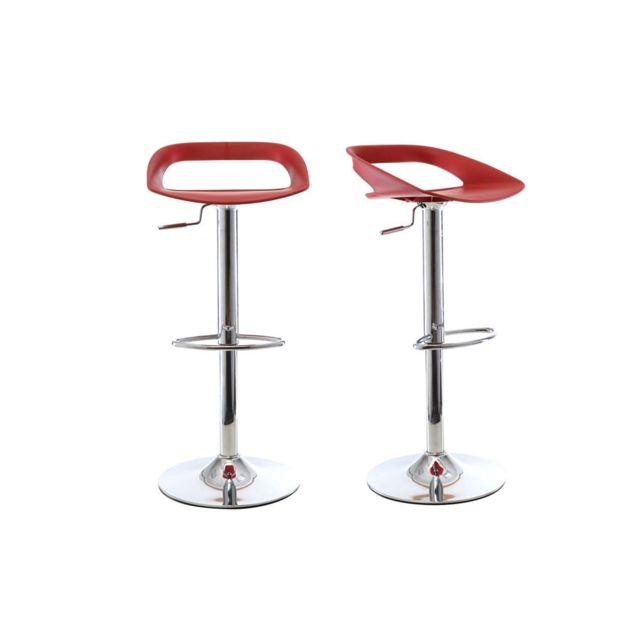 Miliboo Lot De 2 Tabourets De Bar Design Rouge Phenix Pas Cher