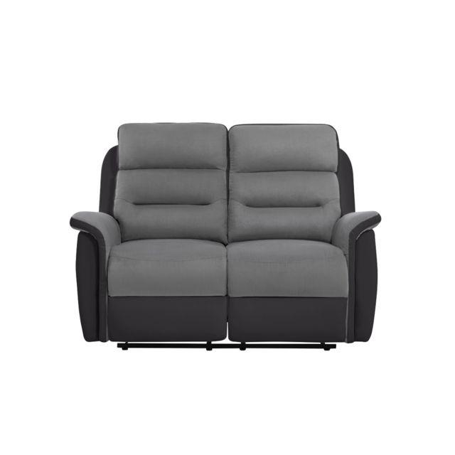 USINESTREET Canapé de Relaxation 2 places Microfibre / Simili LÉON - Couleur - Gris / Noir