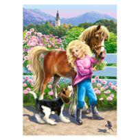 Castorland - Puzzle 60 pièces : Une ballade avec un poney et un chien