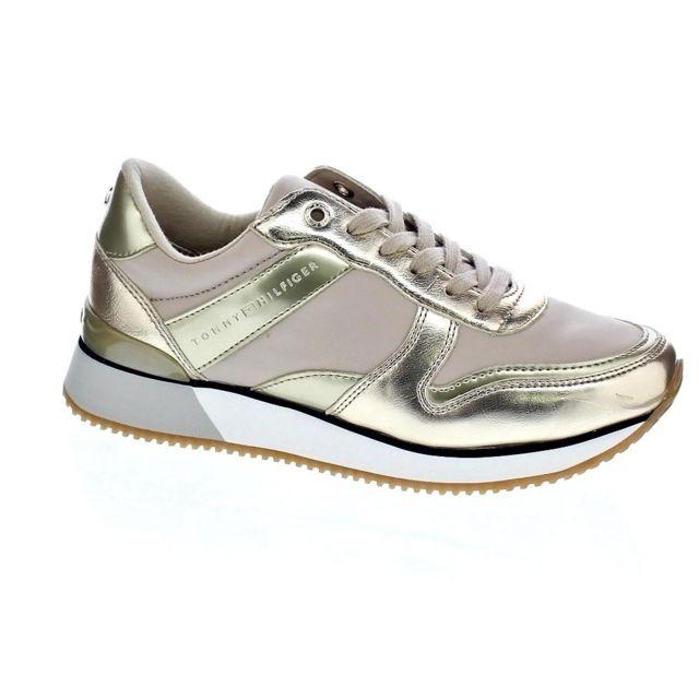 3554cca5484b0 Tommy hilfiger - Chaussures Femme Baskets basses modele Metalic Sneaker - pas  cher Achat / Vente Baskets femme - RueDuCommerce