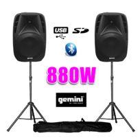 """Gemini - Paire d'enceintes amplifiées Boomer 10"""" 880W +pied"""