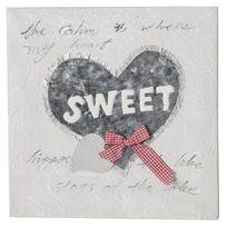 "Paris Prix - Toile Peinte Relief ""Sweet"" Gris"