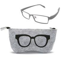 Pour lunettes de soleil   noir lunettes Motif de lunettes feutre étui de  protection à glissière f1b96d36b2f9