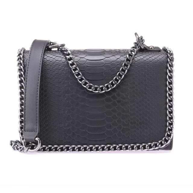 nouvelle collection 5cce5 0c6d6 Sac bandoulière noir aspect reptile avec bordures chaînes