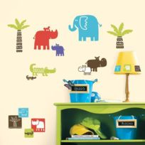 Jomoval - Stickers Petits Animaux Dans Le Safari Roommates Repositionnables 27 stickers