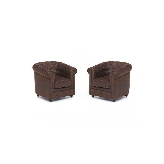 Vente unique Lot de 2 fauteuils en microfibre aspect cuir