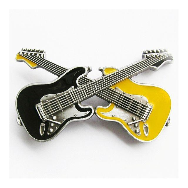 Universel - Boucle de ceinture 2 guitare noir et jaune rock roll homme b00be3c5d86