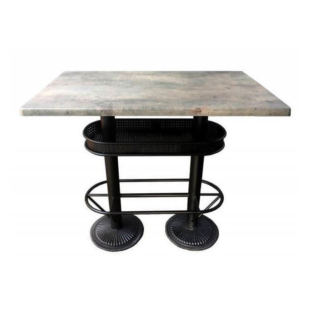 Mathi Design Oakland - Table bistrot/industriel plateau effet beton gris