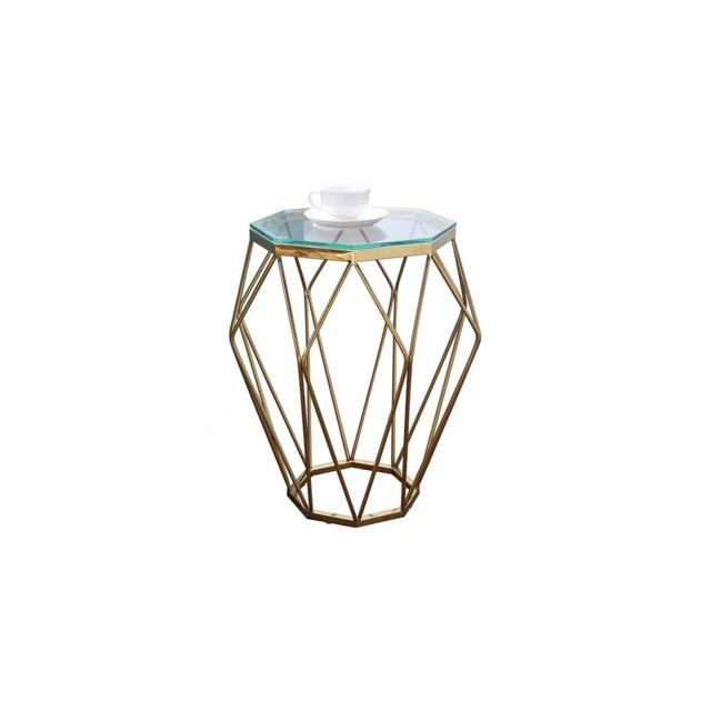 La Maison Du CanapÉ Table basse verre Silla - Transparent - Doré