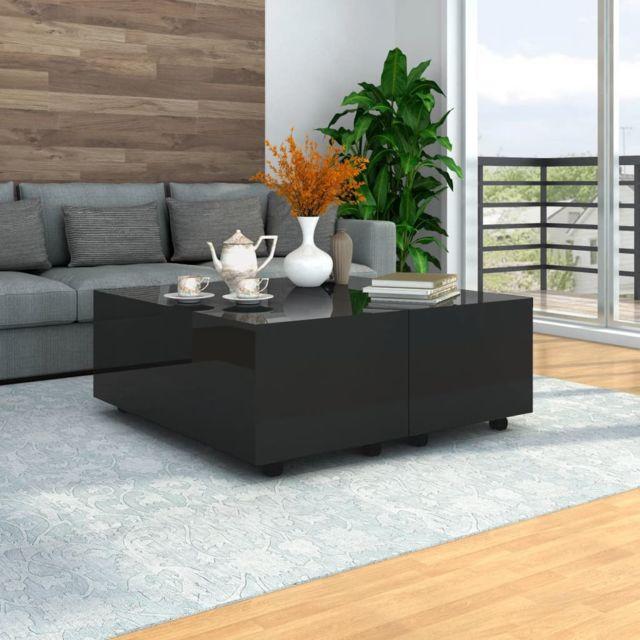 Vidaxl Table Basse Noir Brillant Table d'Appoint Salon Canapé Rangement Maison