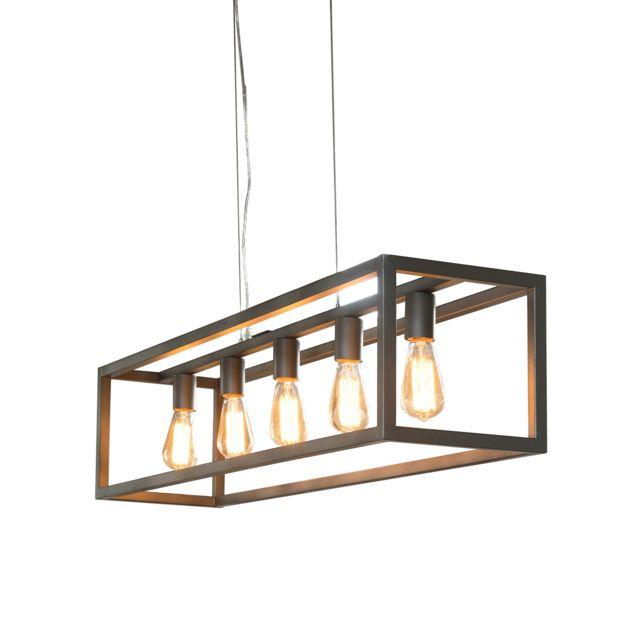 COMFORIUM Lampe Suspension design 5L rectangulaire 4 barres argenté vintage
