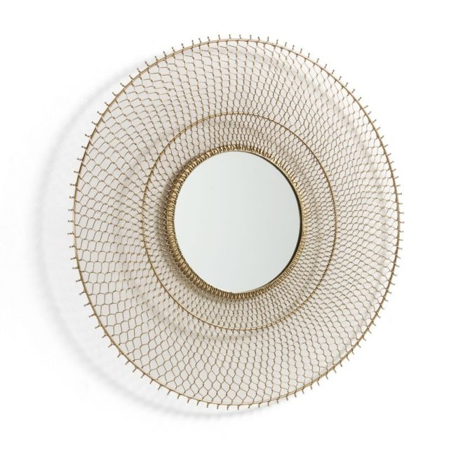 Ma Maison Mes Tendances Miroir rond 75 cm en métal doré Arzel - L 75 x l 75 x H 5