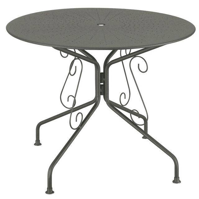 Table de jardin en acier ronde romantique diamètre 95cm AGATHA gris