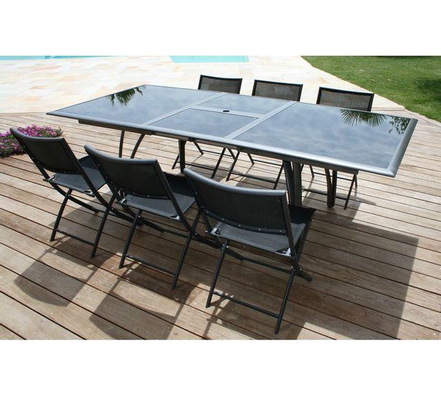 Dcb Garden Table Noir Mat et rallonge Papillon 180/240Cm