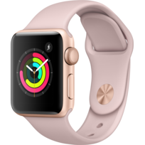 APPLE - Watch 3 38 - Alu or / Bracelet Sport rose des sables