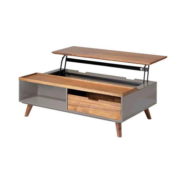 Nouvomeuble Table basse relevable couleur noyer et laqué taupe Minos