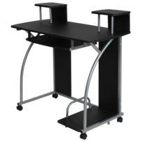 Helloshop26 - Bureau enfant table de travail meuble mobilier chambre noir 2608004