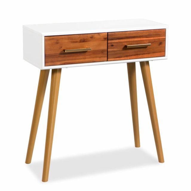 Vidaxl Table Console Bois d'Acacia Massif 70x30x75 cm Buffet Table d'Appoint