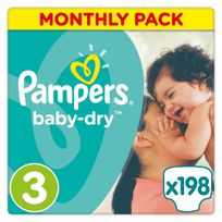 PAMPERS - Baby-Dry - Couches Taille 3 Midi, 5-9kg - 198 couches