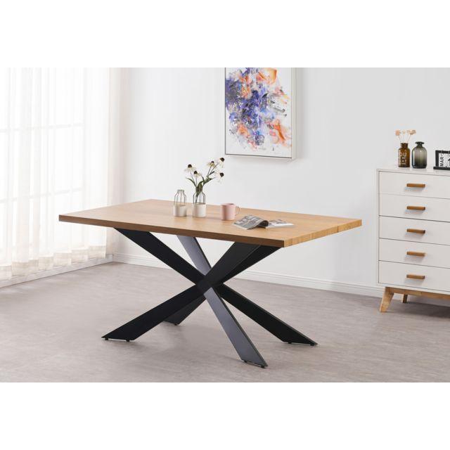 Home Design International Duke Table à Manger Style Scandinave - Coloris Chêne - Style Contemporain - Salle à Manger, Cuisine