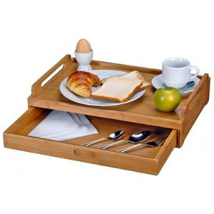 touslescadeaux plateau pour petit d jeuner au lit ou repas t l avec tiroir bambou pas. Black Bedroom Furniture Sets. Home Design Ideas