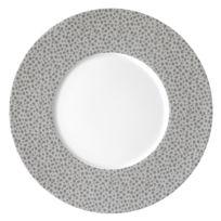 Medard De Noblat - Assiette plate en porcelaine texturée ton sur ton D.27cm - Lot de 6 Baghera - Platine