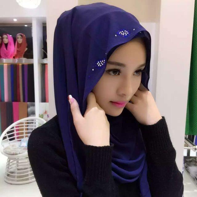 Wewoo - Strass en Mousseline de Soie Perle Caché Boucle Foulard Femme  Nationalité Style Foulard Hijab Foulard Musulman Bleu Marine - pas cher  Achat   Vente ... dad6f653958