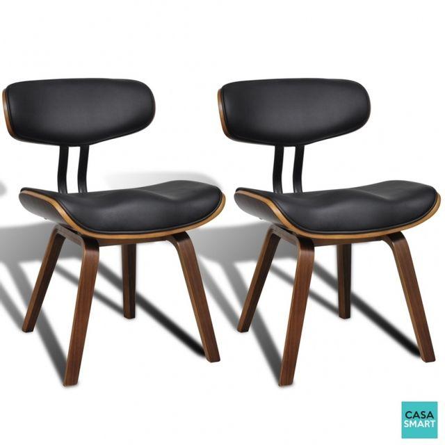 CASASMART Lot de 2 chaises Alaina en simili cuir noir et marron