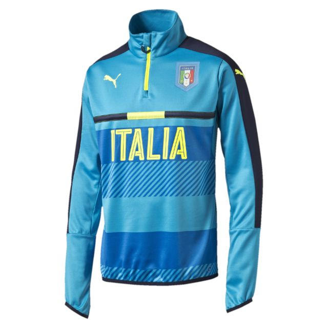 Puma - Replica Italia Figc Zip Longsleeves Atomic Bleu Maillot Nation Homme Football