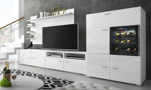 Meuble blanc laqu pas cher meuble salle de bain moderne for Meuble bar avec cave a vin