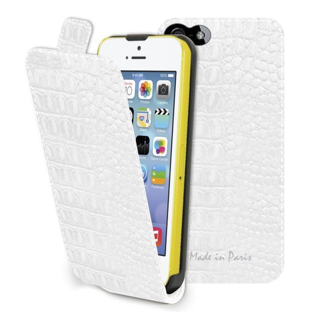 Muvit etui slim croco blanc made in paris apple iphone 5c
