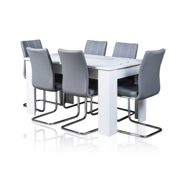 TOPDECO Table extensible Lino + 6 chaises sidney grises