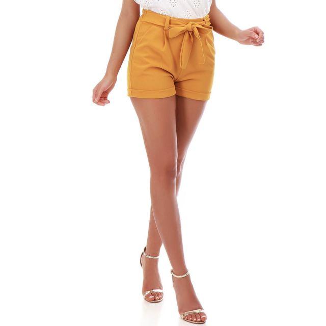 38646e239 Lamodeuse - Short jaune fluide à ceinture - pas cher Achat / Vente ...