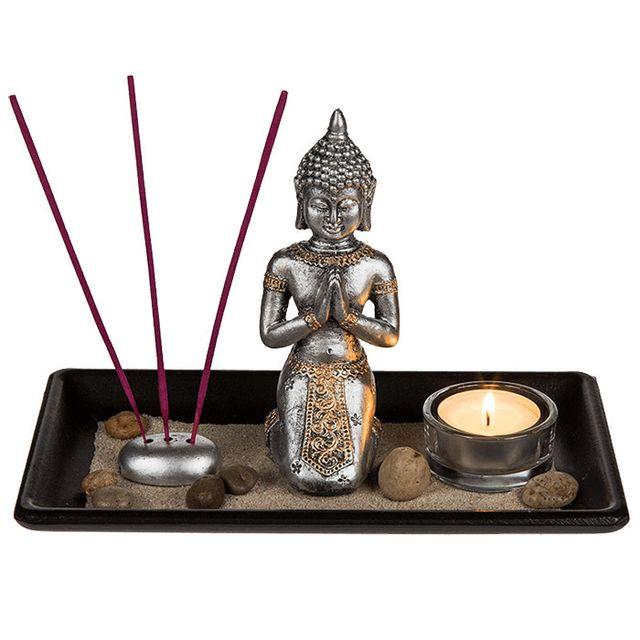 touslescadeaux jardin zen japonais bouddha plateau bouddha zen avec bougie photophore pas. Black Bedroom Furniture Sets. Home Design Ideas