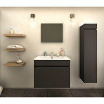 Ma Maison Mes Tendances - Meuble de salle de bain simple vasque 60 cm + 1 colonne Gris Mat Laura - L 60 x l 46 x H 50