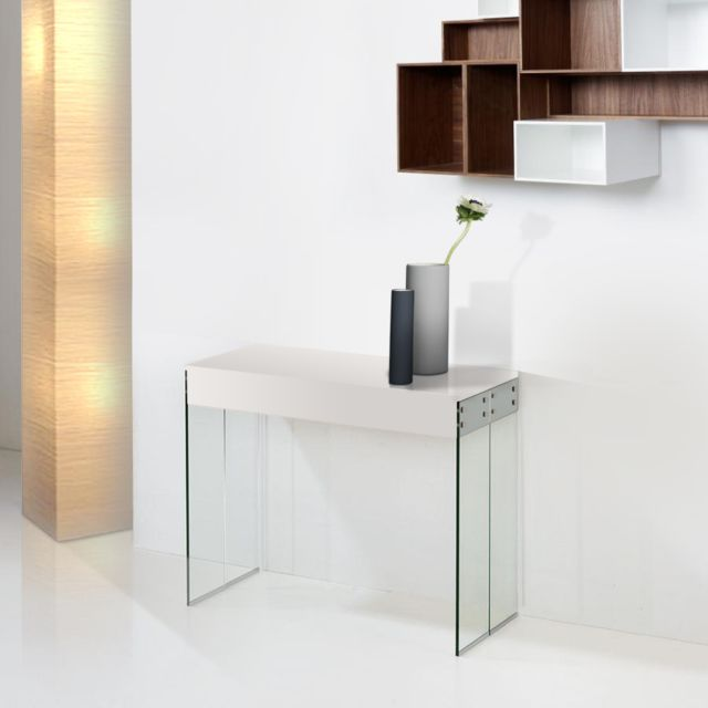 Giovanni Console Extensible New York laqué Blanc