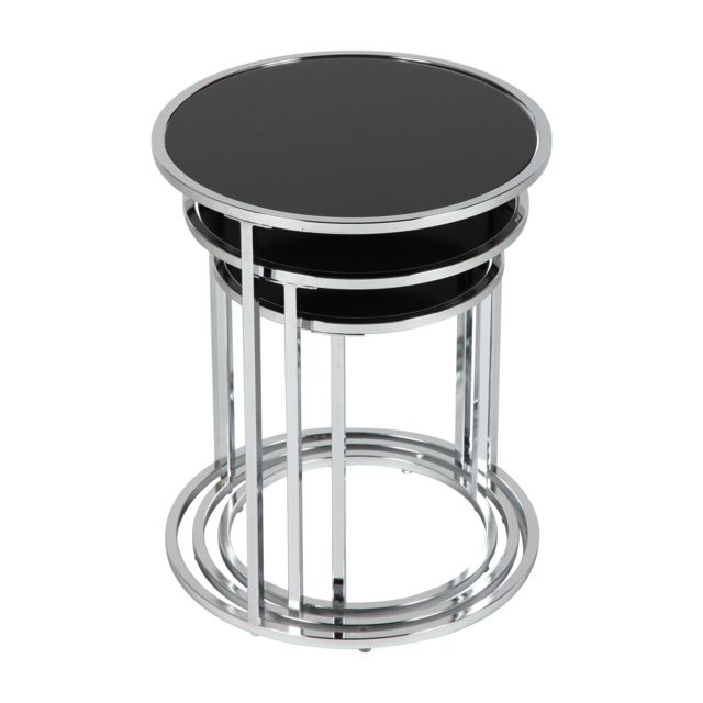 magasin en ligne ff28e 75818 Table gigognes rondes en verre trempé coloris noir Glossy