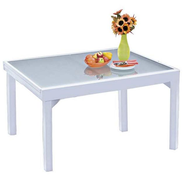 Wilsa - Table de jardin 135/270 Modulo 10 Places Blanch 270cm x 75cm ...