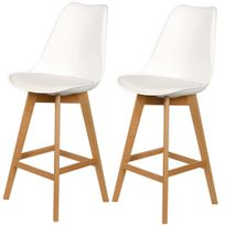 Ego Design - Chaise de bar Scandinavia lot de 2 blanc