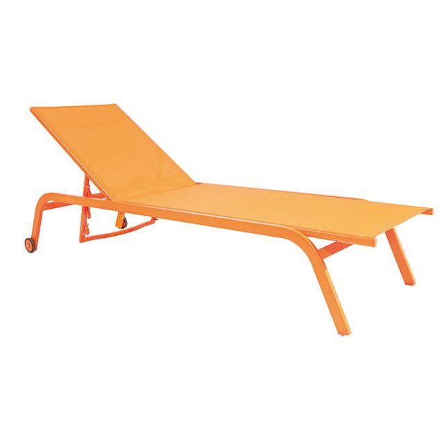 Gecko Jardin Bain de soleil aluminium et textilène orange Perth