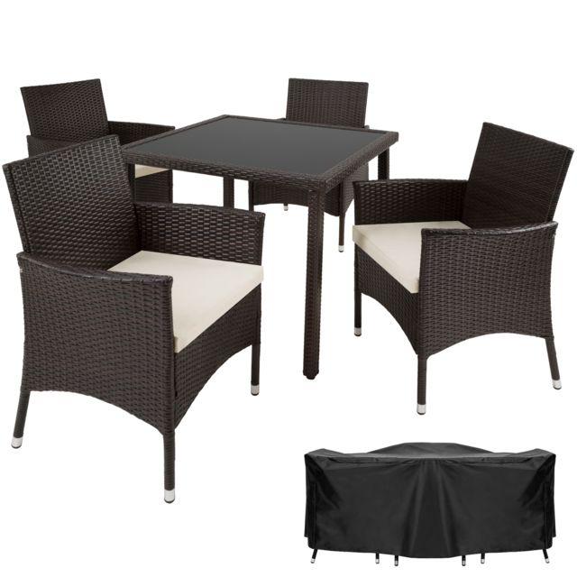 TECTAKE - Salon de jardin SEVILLE - 4 Chaises 1 Table en ...